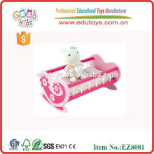 Madera Pretend Pay Juguetes bebé Rocking Bed Toy