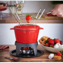 Enameled Cast iron cheese fondue set 1.6 Quart