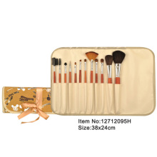 12pcs orange plastic handle aniamal/nylon hair makeup brush tool set with bling printed canvas case