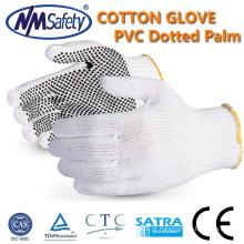 Luva pontilhada pvc NMSAFETY algodão barato luvas pontilhadas