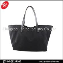 clear black shoulder bag/big leisure tote bag/cheap canvas bag/beach bag