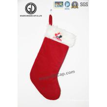 Sac à chaussettes de haute qualité Sac de Noël en flanelle avec logo brodé