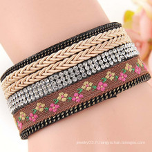 Népal Bracelet en cuir à cordes artisanales au style ethnique en gros allibaba.com
