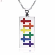 Günstige Mode Großhandel Gay Pride Silber Halskette Anhänger Schmuck
