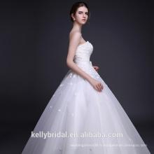 Fleurs 3D avec perles Robe de mariée sweetheart décolleté robe de mariée jupe puffée robe de mariée 2017