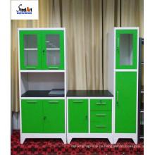 Мебелью комбинация для стали кухонный шкаф со стеклянными дверями