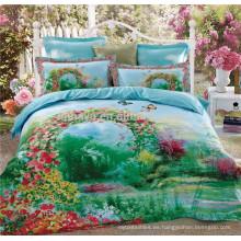 100% Algodón 40s * 40s 133 * 72 Reactive Imprimir satén acolchado cubrecamas jardín Eden conjunto de ropa de cama