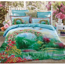 100% Cotton 40s*40s 133*72 Reactive Print Satin Quilted Bedspreads Eden Garden Bedding Set