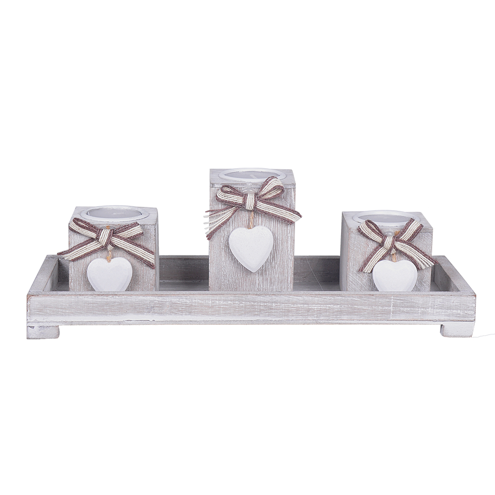 Ensemble 3pcs Coeur Pilier Bougeoir