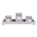 Candle Holder Pillar Heart 3pcs Set