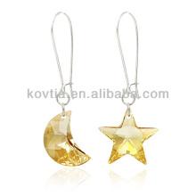 Personalisierte Mond- und Sternform Kristallhängender Ohrring