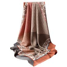 top vendeur printemps femme à la main sergé écharpe en soie carrée châle impression personnalisée