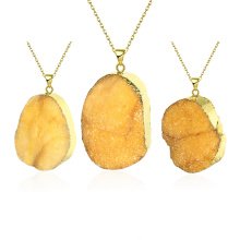 Fashion Jewelry Yellow Crystal Natural Stone Pendant Necklace Gold Plated