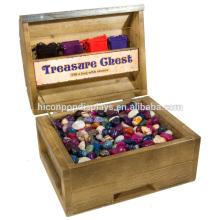 El mostrador con cerradura de madera cuadrada mostró el pecho exhibió la exhibición al por menor de la caja de exhibición de la caja