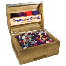 Lockable Countertop Square Wood Showcase Chest Tumbled Stone Retail Exhibition Box Display Cases