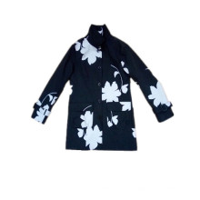 Black and White Flower Hooded PVC Raincoat for Woman