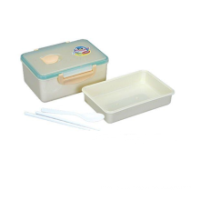 Oblong microwave lunch box plastic with chopsticks and spoon