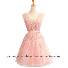 Elegante rosa Borgonha Lace curto apliques Chiffon Mini Prom Dress