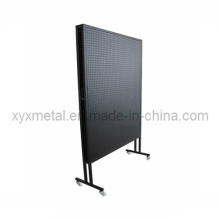 Rolling Double Sides Exposition Metal Pegboard Display Stand Rack