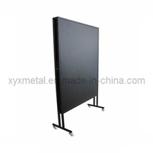 Rolling Double Sides Exhibition Metal Pegboard Display Stand Rack