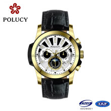 Custom Chronograph Gold Plated Wrist Watch for Men