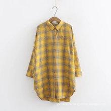 Gefärbte Damen Langarm Casual Shirt Blusen bezahlt