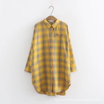 Dyed Women's Paid Long Sleeve Casual Shirt Blouses