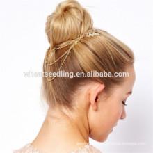 Булочка украшение цепи листья пользовательских сыпучих металлических волос гребни