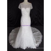 Lace querido bonito Appliqued vestidos de casamento de cristal