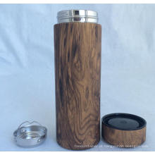 Copo de Thermos de grão de madeira de parede dupla, novo design