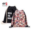 Высокое качество черный холст шнурок рюкзак