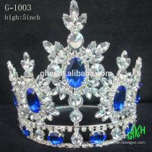 Novo design moda grande evento beleza coroa azul Tiara de pedra do Reno