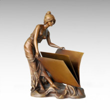 Classical Figure Statue Envelope Lady Bronze Sculpture TPE-068