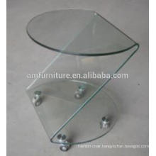 modern cheap hot bent curved glass coffee table ,end table
