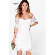 Crochet Off épaule dentelle femmes robe