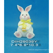 Hand-Painted Ceramic Rabbit with Ribbon Decoration