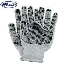 NMSAFETY 7 калибровочных отбеливатель поликоттон строку трикотажные перчатки ПВХ пунктирной перчатки