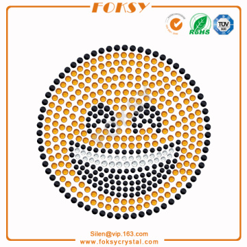 Bottom price for China Manufacturer Supply Rhinestone Graphics, Graphics Rhinestone Hotfix Motif, Graphics Rhinestone Transfer Smiling Face with Open Mouth rhinestone heat press export to San Marino Exporter