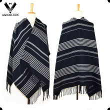 2016 Unisex Woven Acrylic Fashion Big Striped Shawl with Fringes