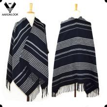 2016 moda unissex tecido acrílico grande listrado xale com franjas