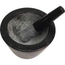 Conjunto de mortero y mortero de granito sólido