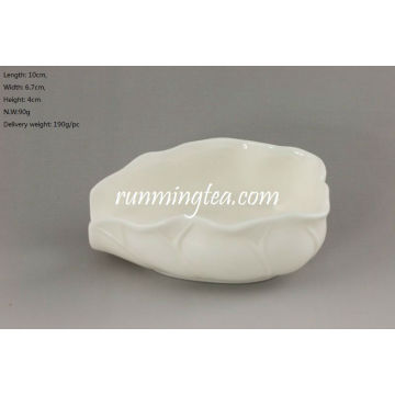 Lotus Leaf Shape Weiß Porzellan Tee Präsentation Schiff (Cha He)