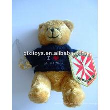плюшевые рыцарь плюшевый мишка игрушка с тряпкой в одной руке меч и щит из ткани с другой стороны футболка медведь мягкая игрушка