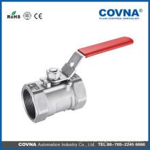 Válvula de esfera manual em aço inox SS304 roscada