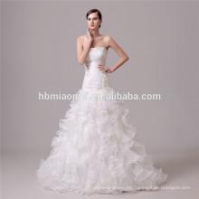weiße Farbe geschnürt tiefem V-Ausschnitt Prinzessin Brautkleid Brautkleid Meerjungfrau