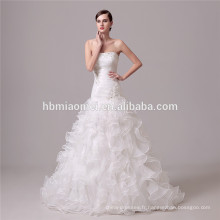 couleur blanche lacée profonde v cou princesse robe de mariée robe de mariée sirène