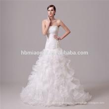 белый цвет кружевной глубокий V шеи принцесса свадебное платье свадебное платье русалка