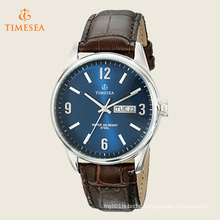 Men′s Day/Date Function Dial Leather Strap Watch 72505