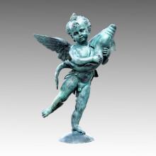Gran escultura de bronce del jardín Cupido y estatua de cobre amarillo del delfín Tpls-014