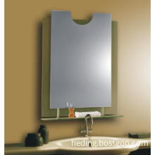 bathroom wall mirrors with decorative glass and shelf